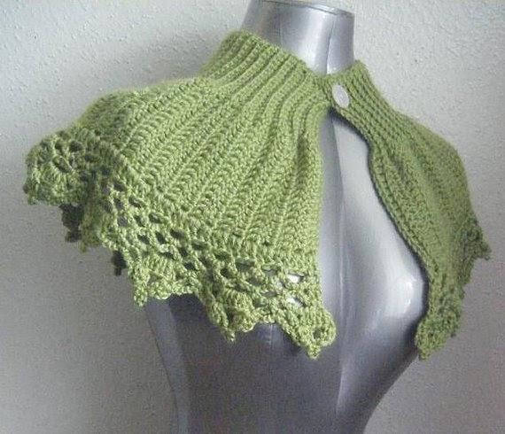 Knitting Patterns For Shrugs With Shawl Collar : Best Patterns: Green Capelet Shrug Collar Cowl Poncho Shawl or Bolero Crochet...