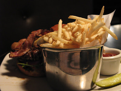 burger with shoestring fries