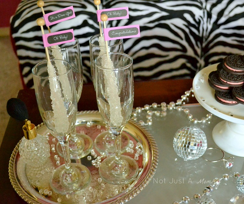 bling baby shower table rock candy stirrers