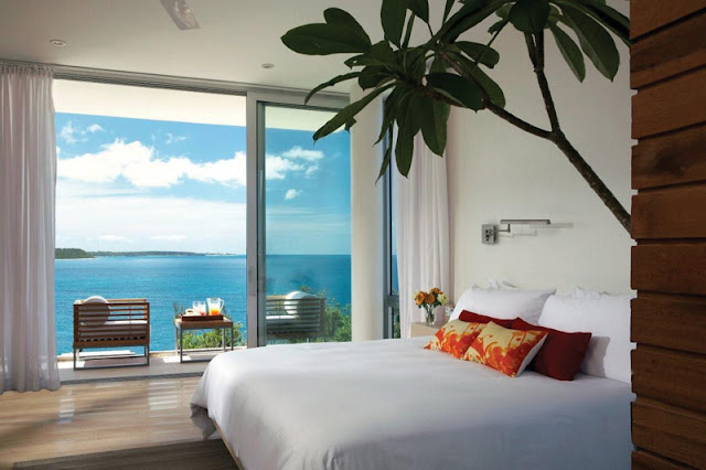 Modern bed with the ocean view