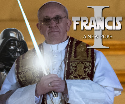 Pope Francis wielding a lightsaber