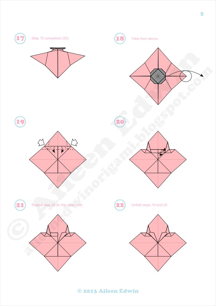 Origami Poppy Diagrams Dual-Coloured (Aileen Edwin)