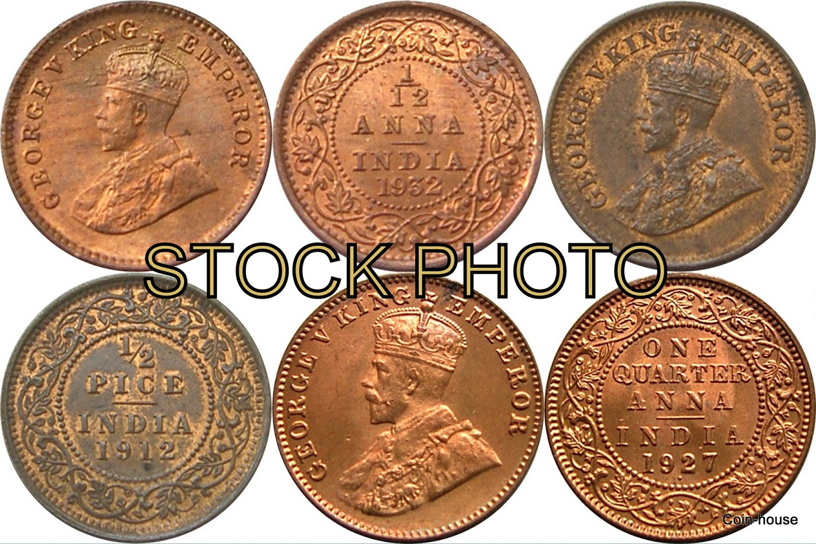 1//12 COIN GEORGE V KING -EMPEROR BRITISH INDIA ANNA ANCIENT