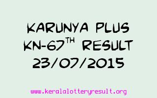 Karunya Plus KN 67 Lottery Result 23-7-2015