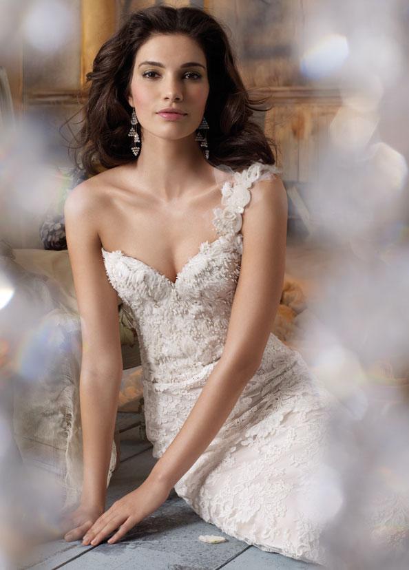 Wedding dress business add modern elegance with one for Lace one shoulder wedding dress