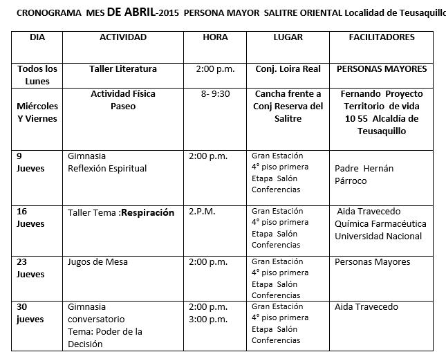 Asobel 109 en Acción: Cronograma de actividades para personas ...