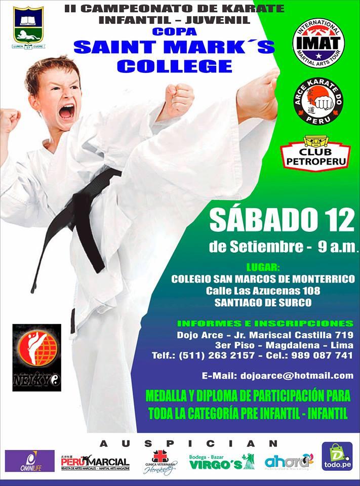 "II CAMPEONATO DE KARATE ""Copa Saint Mark's College"" Lima-Perú"