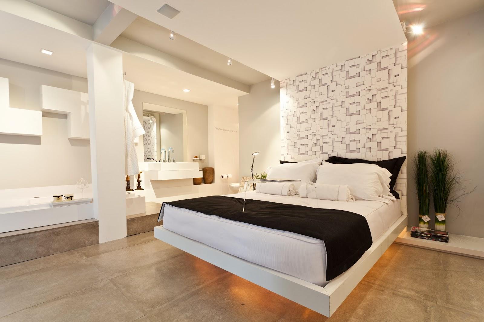 Para quem gosta da ideia de ter o quarto e o banheiro juntos mas  #9B6130 1600 1066