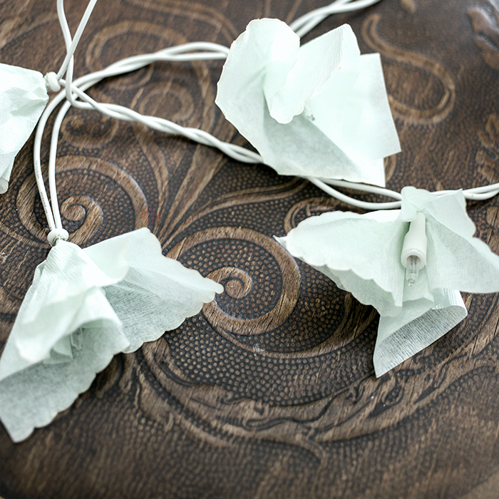 Easy DIY - flower string light of vintage napkins by gretchen gretchen