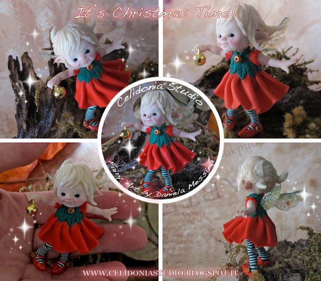 Fatina del Natale che avverte gli Elfi suonando il Campanello - in Pasta Sintetica
