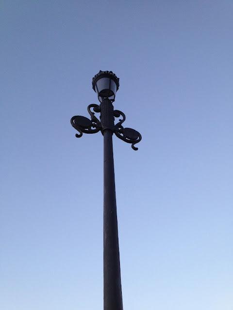 Old style lamp post in Baiona. Farola de Baiona