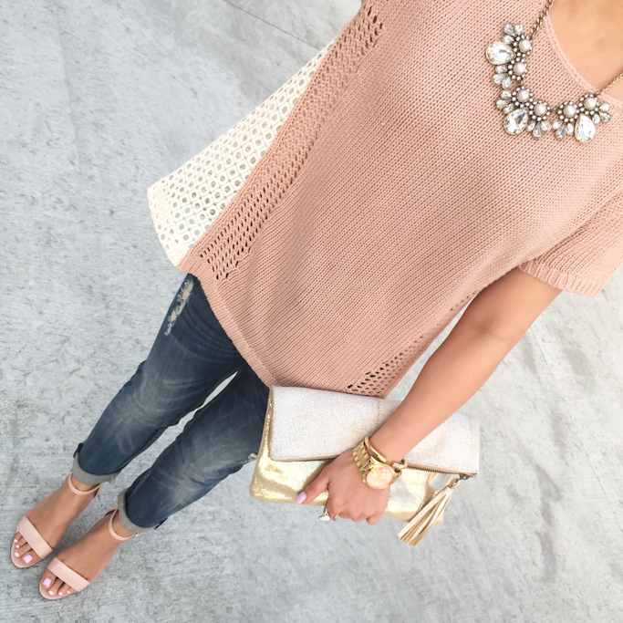 Anthropologie madeira eyelet back pullover sweater BP luminate nude sandals Loft crystal pearlized necklace Vigoss jeans Tarina shimmered pouch