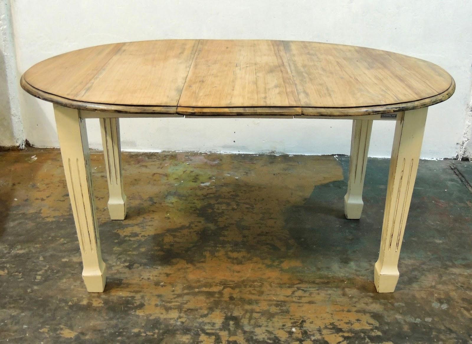 Mesa de campo antigua patinada comedor ovalada intervenida - Mesa comedor antigua ...