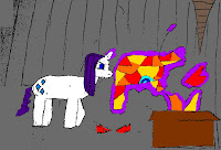 Rarity making an Iron Man outfit, in a cave, with a box of scraps