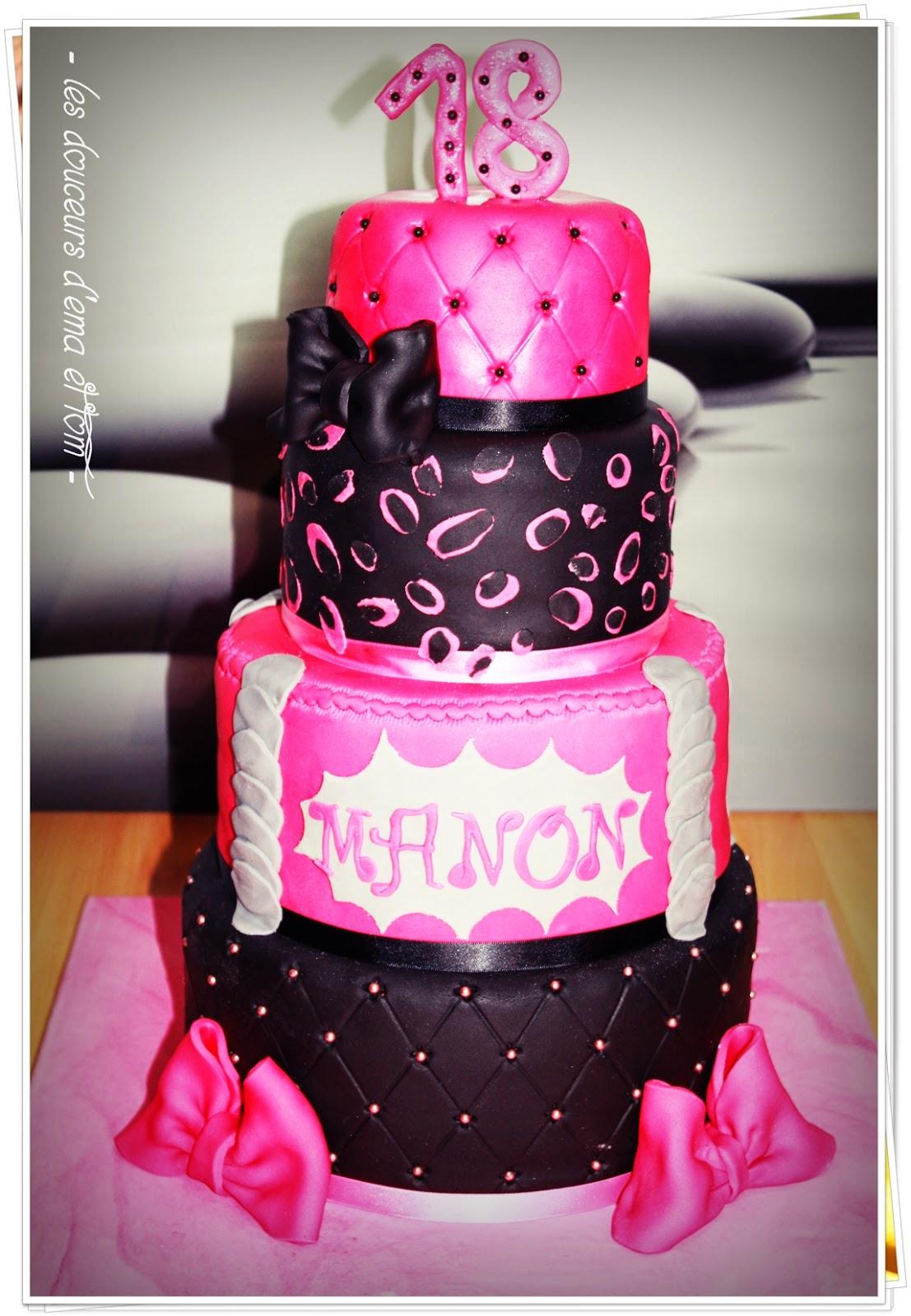 Les douceurs d 39 ema et tom cake design girly pour les 18 ans de manon d fi cuisine cake design - Gateau anniversaire fille 10 ans ...