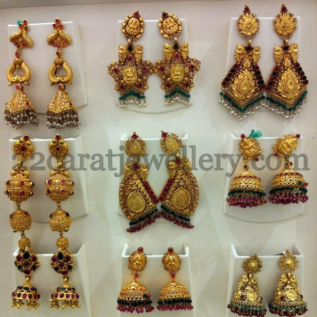 Temple Jhumkas Collection Jewellery Designs