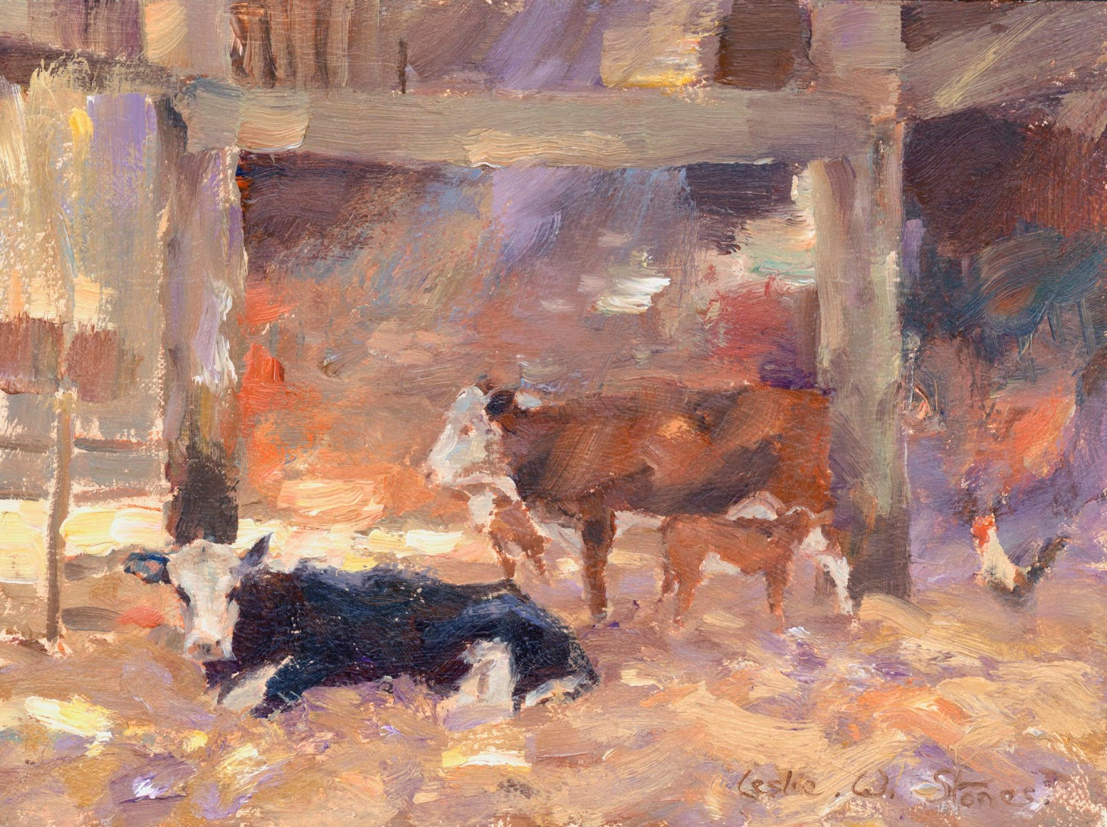 Cattle in a barn painting