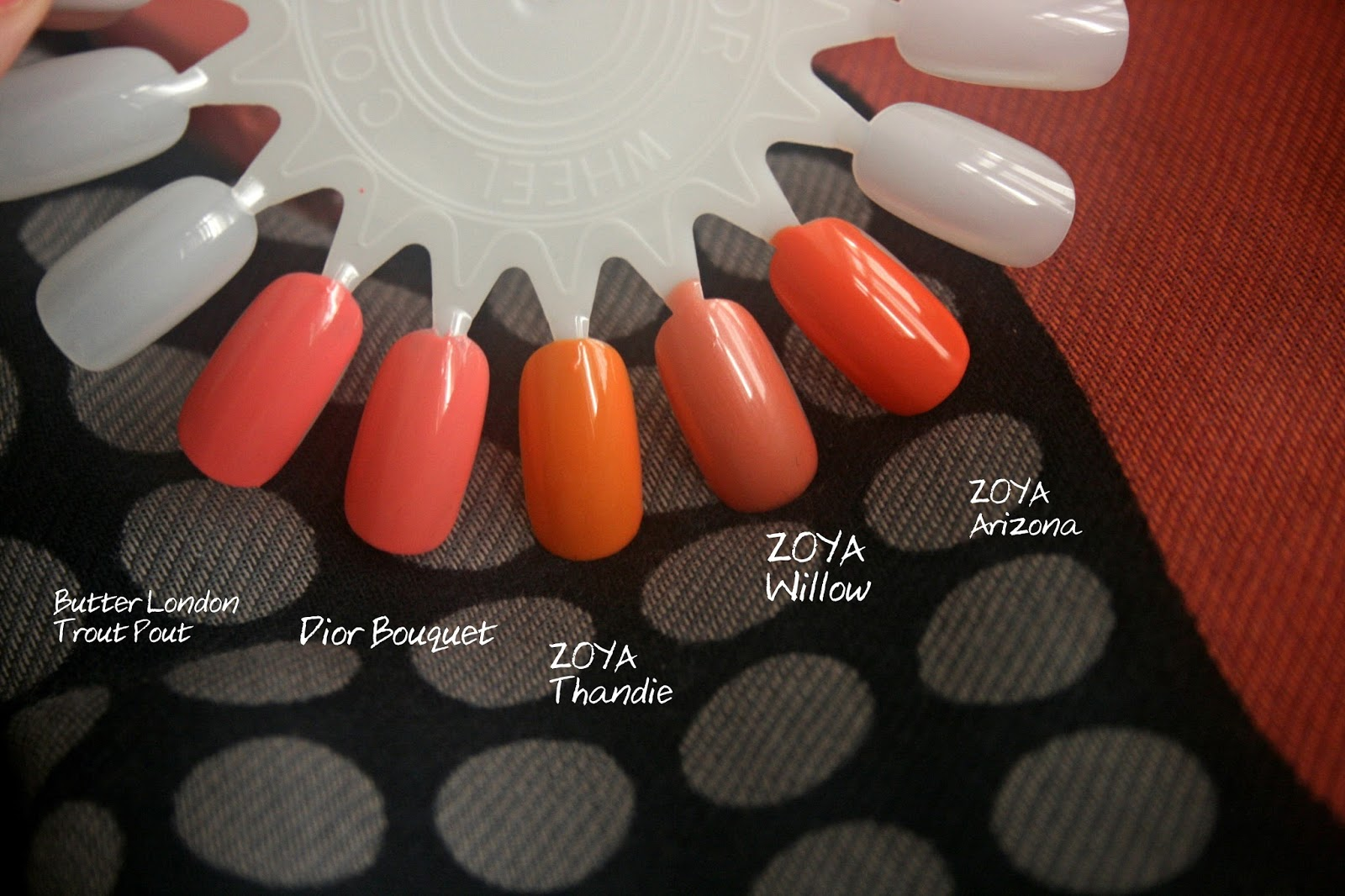 Dior Bouquet Comparison Swatches to Butter london trout pout zoya thandie zoya willow zoya arizona