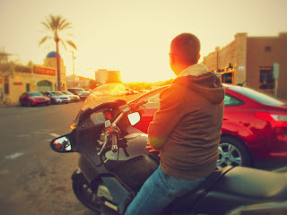 Sunset-Tucson-motorcycle-rider