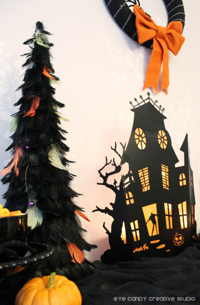 decorating for halloween, halloween feather tree, pumpkin, candy corn