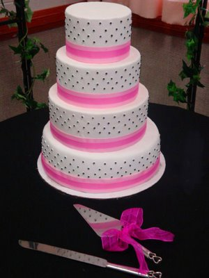 Four Tier Pink Wedding Cakes Dots And Feathers