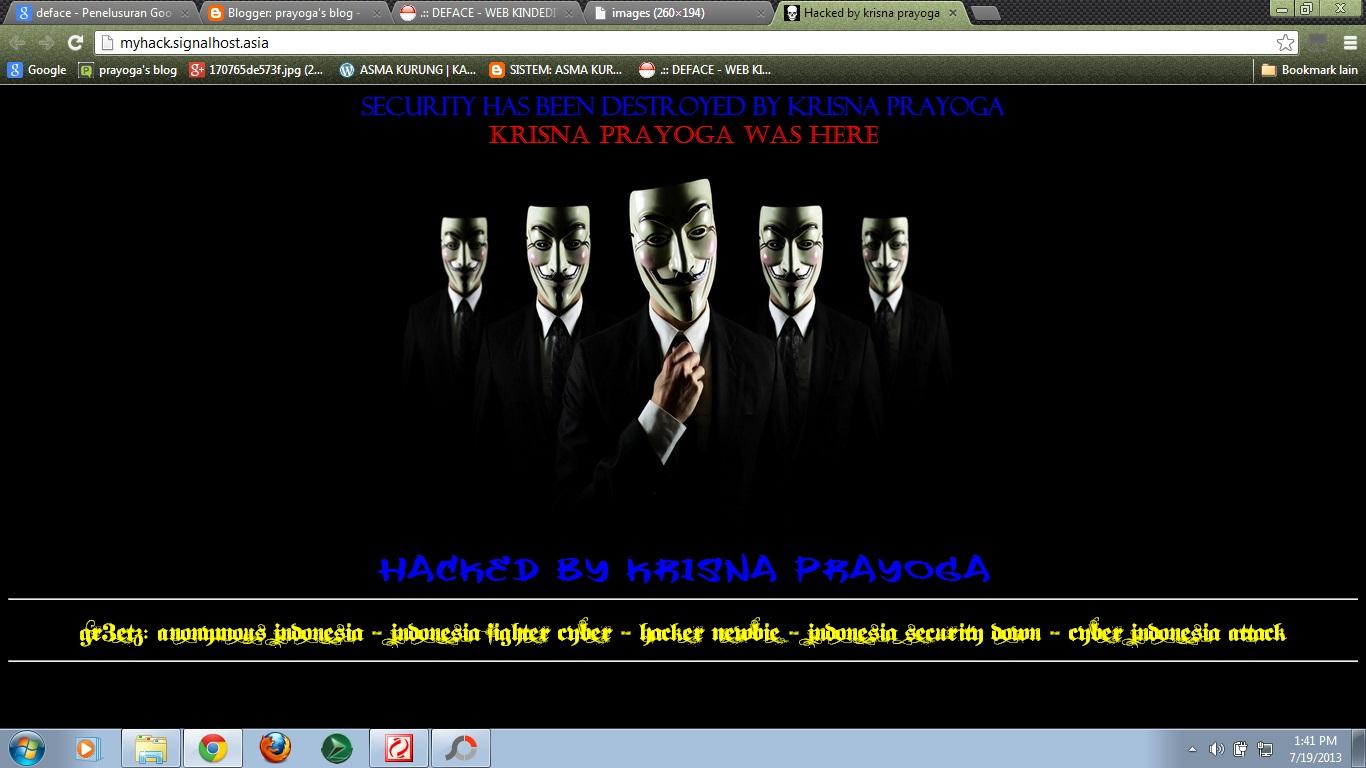 deface adalah suatu kegiatan mengganti halaman website dengan halaman buatan sendiri halaman itu biasa nya berupa pesan dan gambar yang di buat oleh defacer