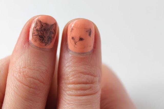kitten nail art transfers