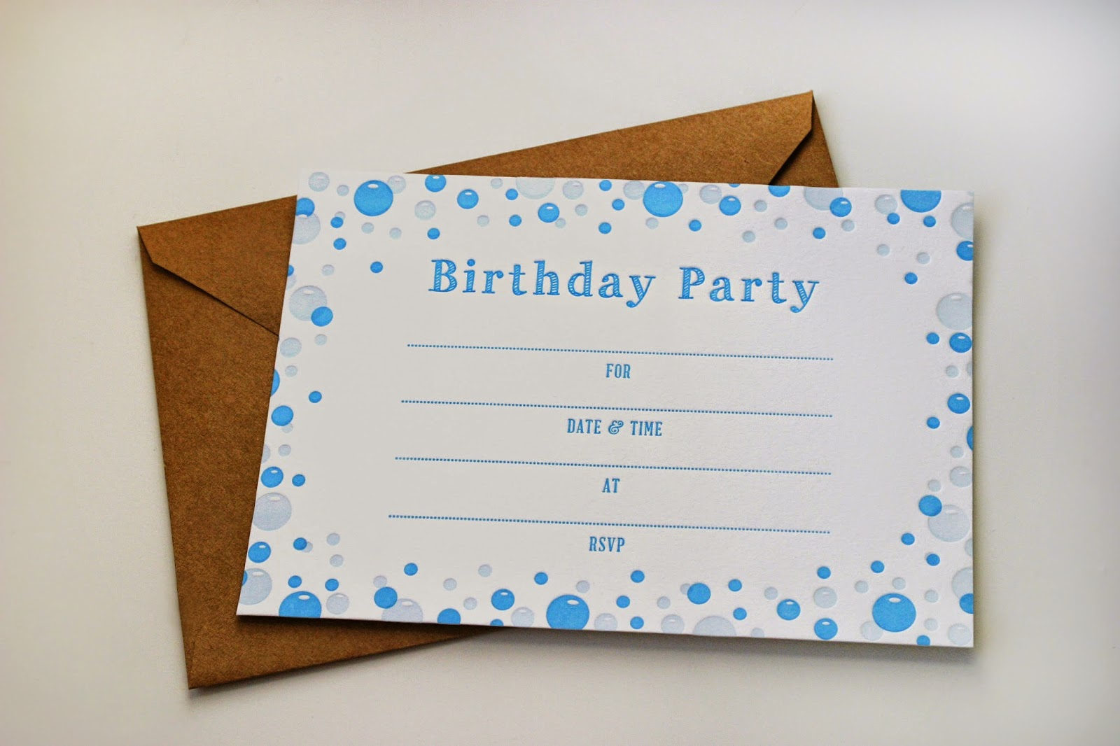 Bubble Party Fill-in Letterpress Invitations by Sweetly Said Press