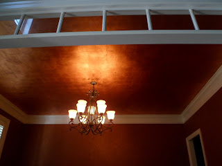 savard studios fabulous copper leafed dining room ceiling