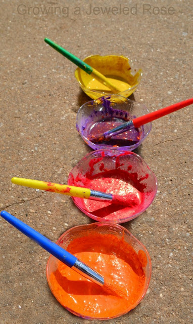 Homemade sidewalk paint using only two ingredients- vibrant colors and 100% washable!