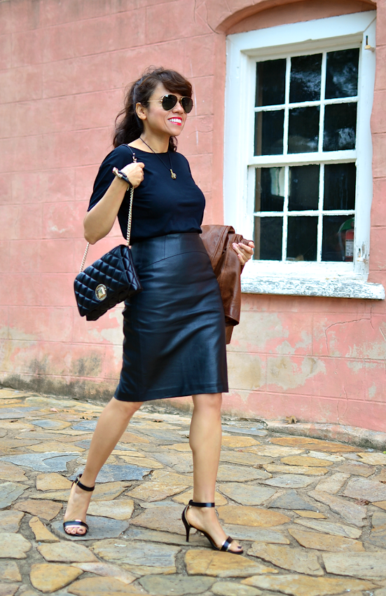 Black leather skirt street style