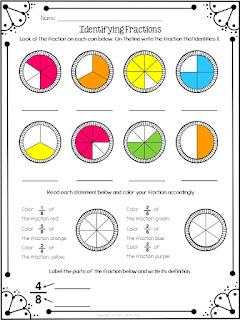 math identifying fractions freebie