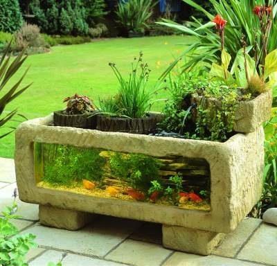 Fotos de dise os de peceras jard n y terrazas for Outside goldfish pond
