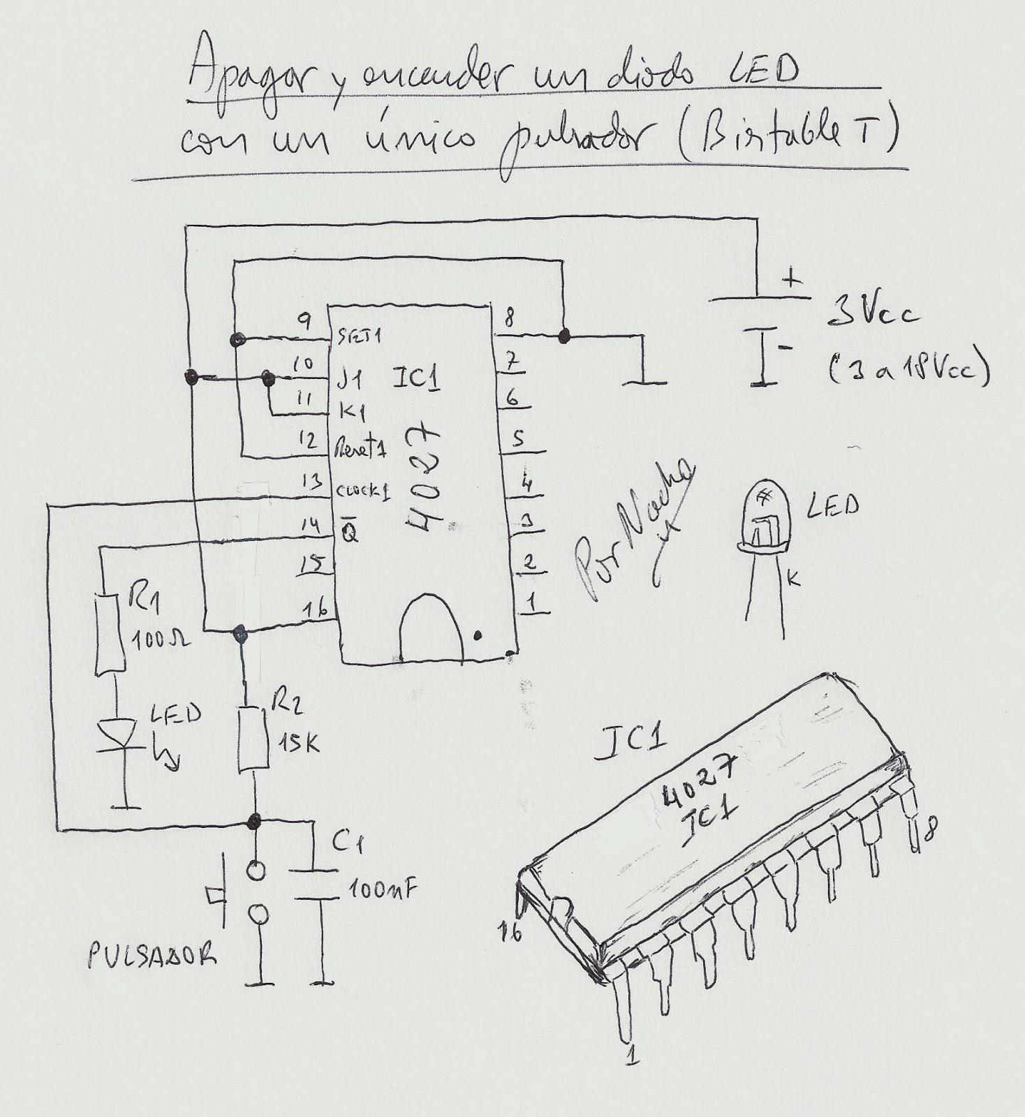 Circuito Led : Cotidiana place: apagar y encender un diodo led con un único