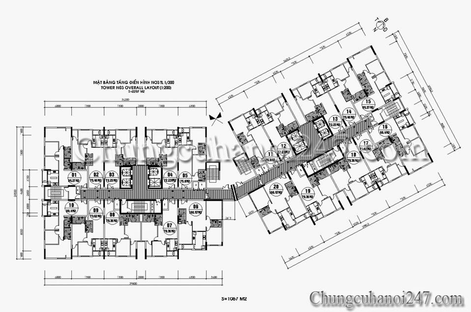 Mặt bằng tòa N03 chung cư 87 Lĩnh Nam