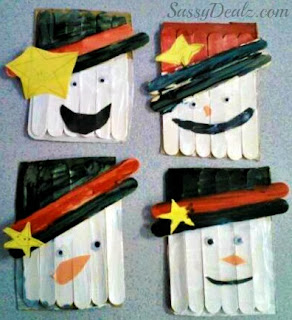 popsicle stick snowman craft for christmas