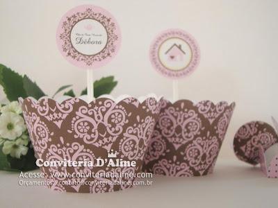 decoração chá casa nova rosa marrom