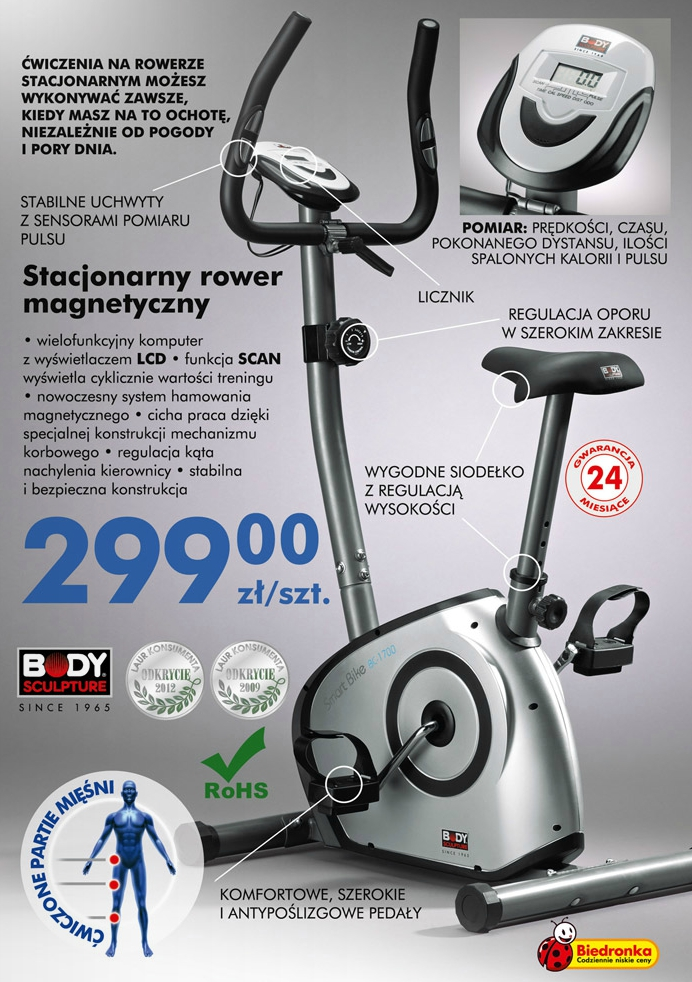stacjonarny magnetyczny rower treningowy Biedronka ulotka