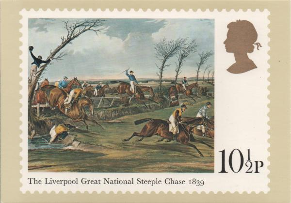 10 and a half pence stamp card featuring horse racing painting