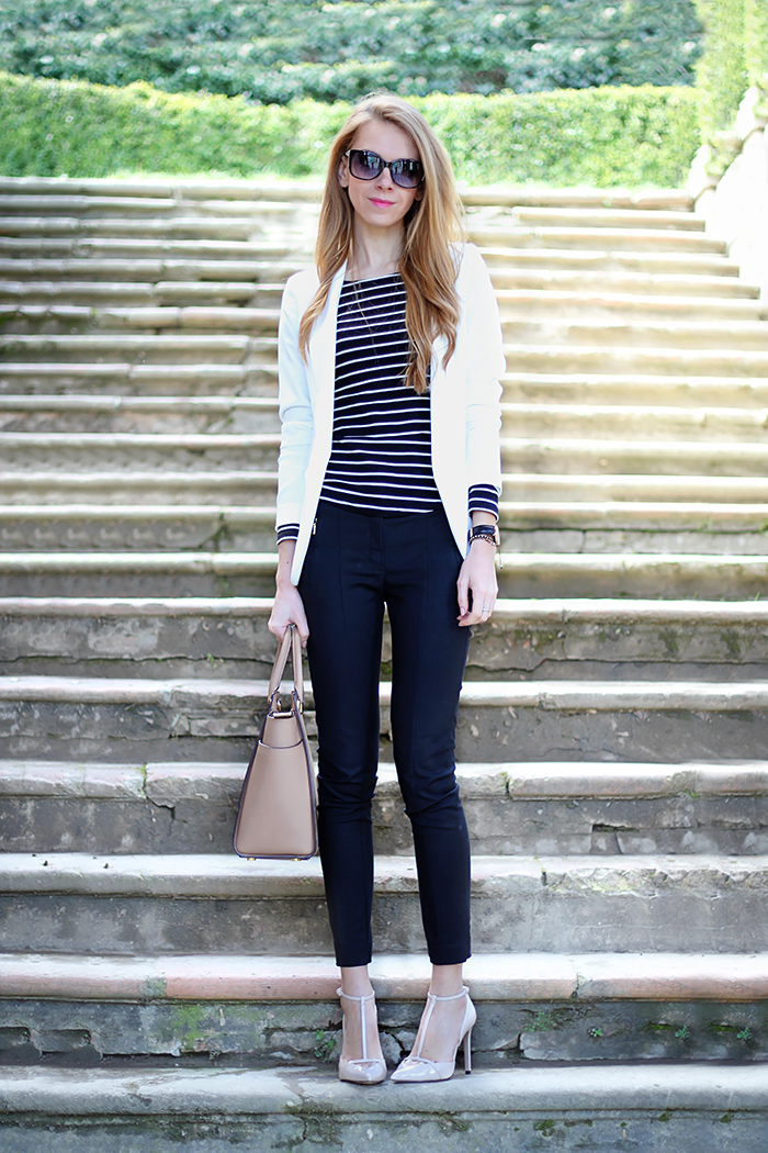 striped top, black and white outfit, Michael Kors Selma bag, nude heels, spring