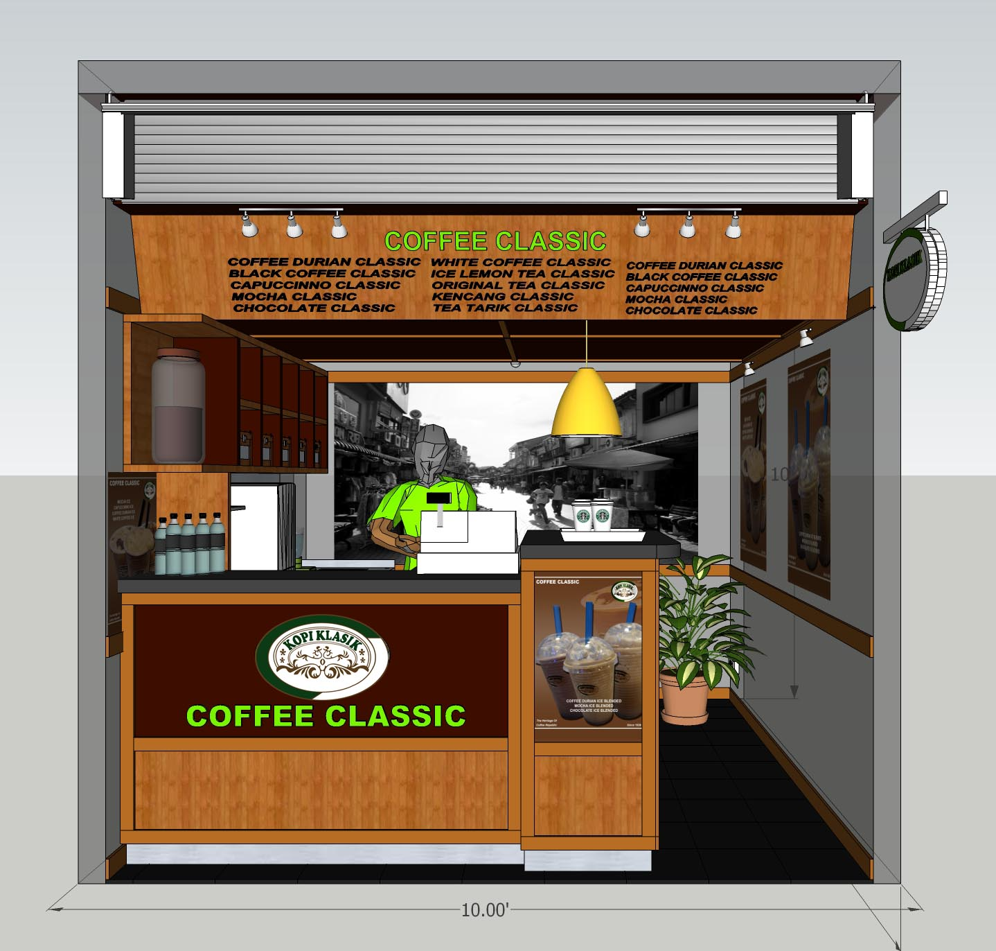 CONTOH REKA BENTUK MINI CAFE COFFEE CLASSIC