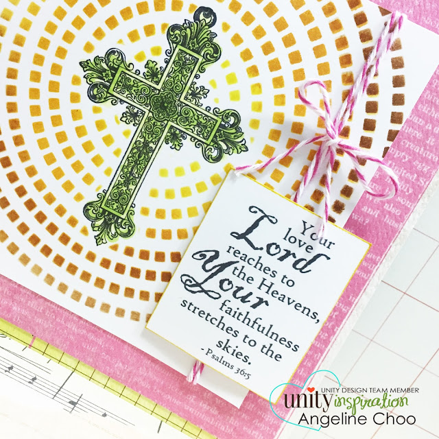 ScrappyScrappy: Your love Lord reaches to the heavens #scrappyscrappy #unitystampco #gracielliedesign #card #trendytwine #distress #stencil