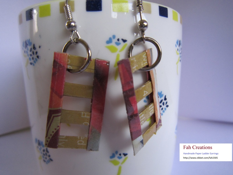 Fah creations handmade paper ladder earrings for Handmade paper creations
