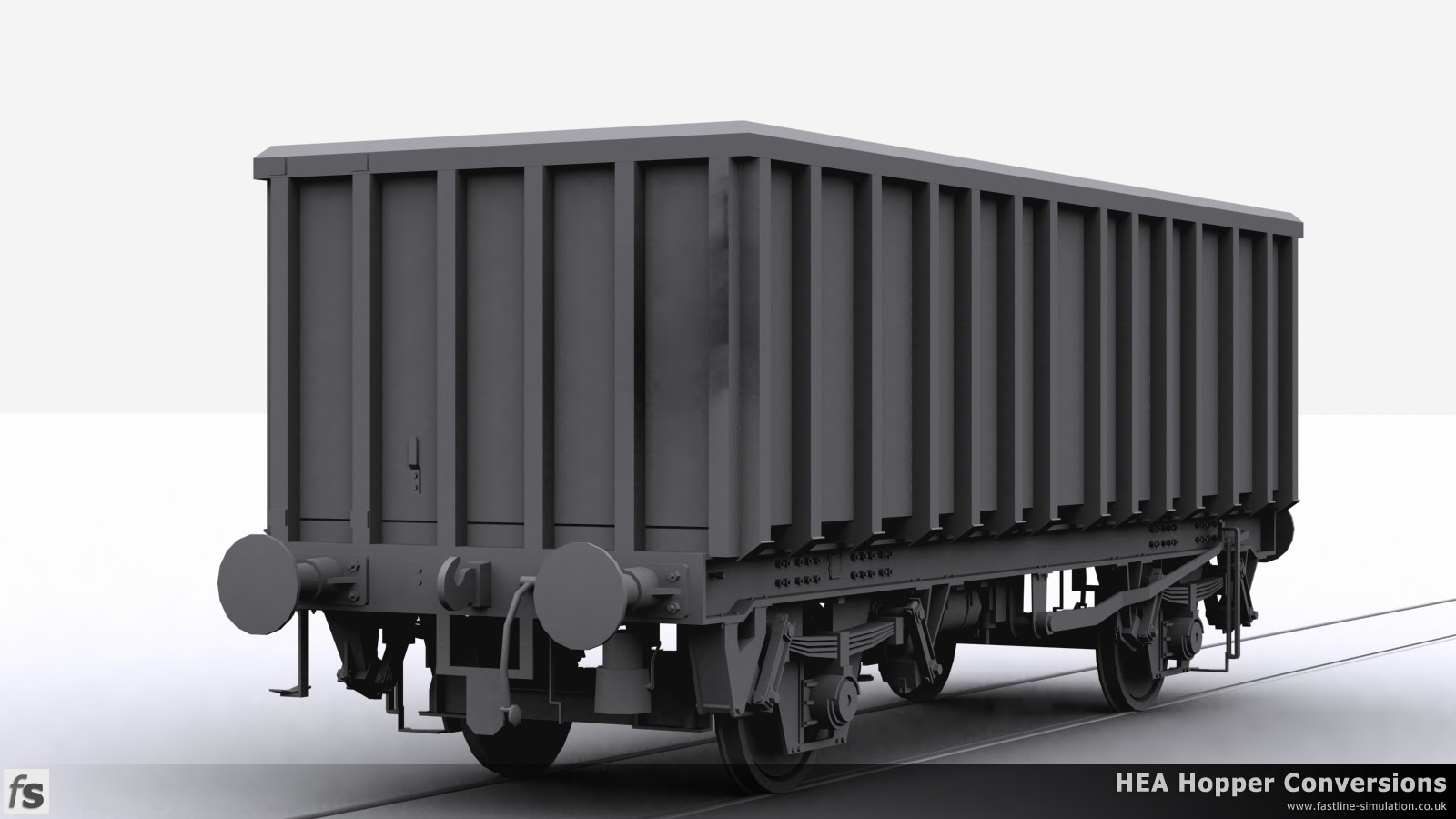 Fastline Simulation - HEA Conversions: A shape for a later version of the MEA box wagon converted from an HEA hopper with the end ladder removed and angled corners to the side ribs.