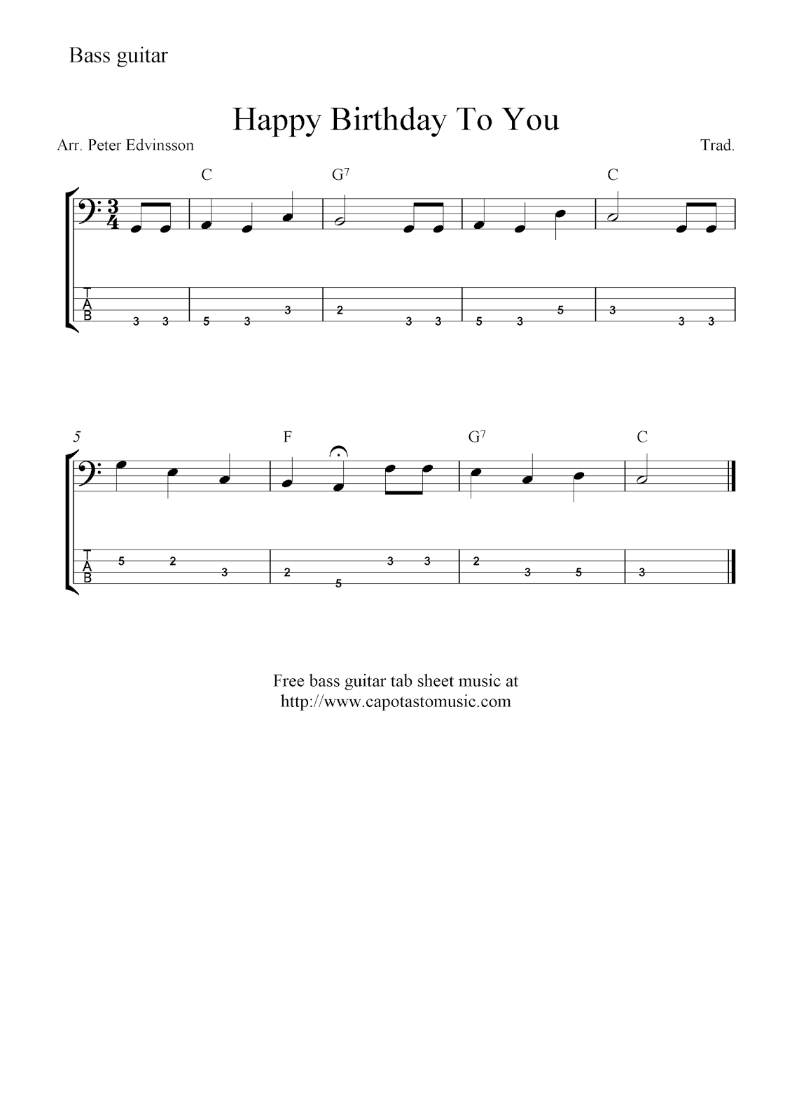 Free bass guitar tab sheet music, Happy Birthday To You