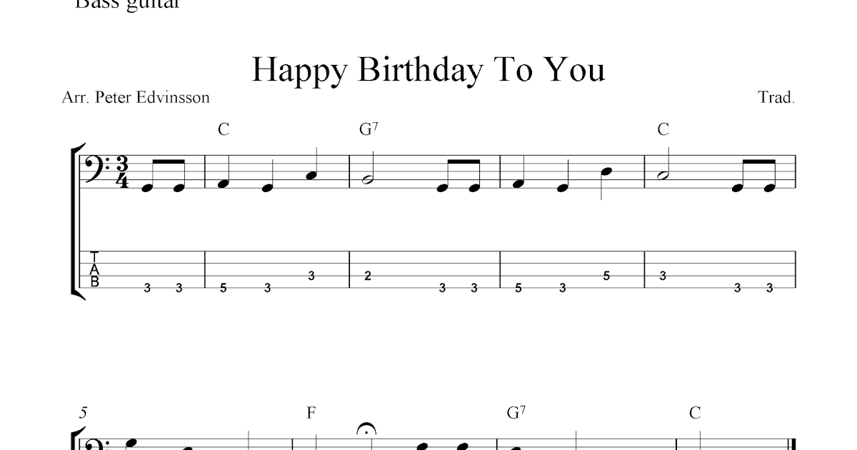 All Music Chords free bass sheet music : Free bass guitar tab sheet music, Happy Birthday To You