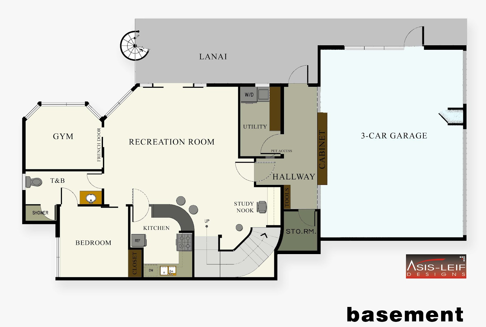 Basement floor plans ideas house plans 1849 for Modern house plans with basement