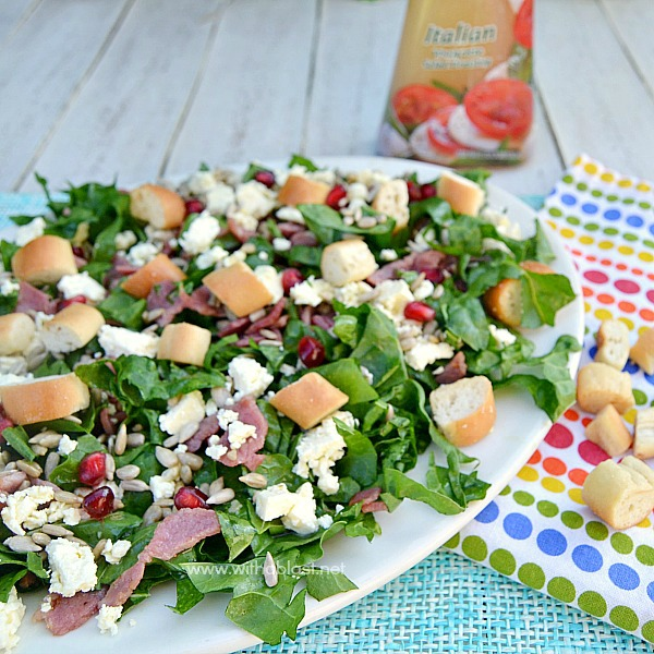 Bacon Spinach and Feta Salad ~ One of the quickest, low-fat healthy Salads around ! Serve this Bacon Spinach and Feta Salad for lunch, as a light dinner or as a side dish
