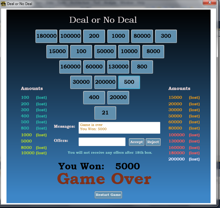 Visual c codes deal or no deal game www scripthood com