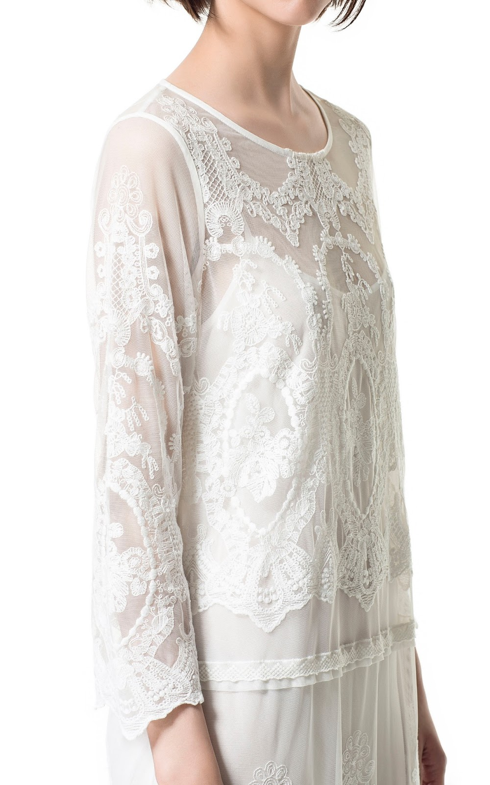 Zara new collection long lace embroidered off white